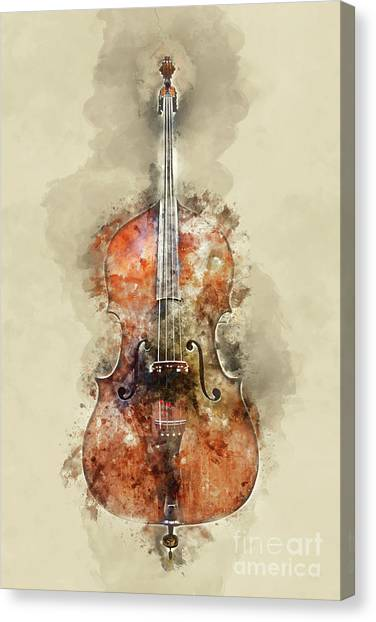 Cellos Canvas Print - Cello Watercolor by Delphimages Photo Creations