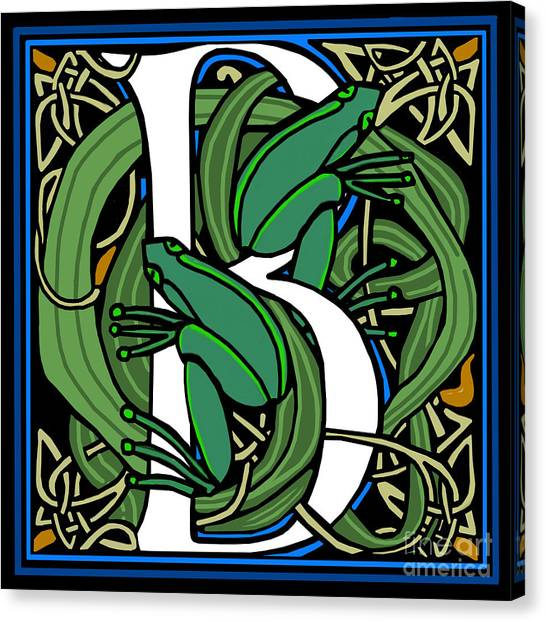 Celt Frogs Letter B Canvas Print