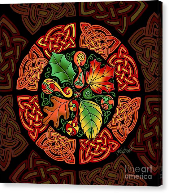 Celtic Autumn Leaves Canvas Print