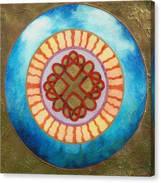 Celtic Heart Knot Mandala Canvas Print by Jo Thompson