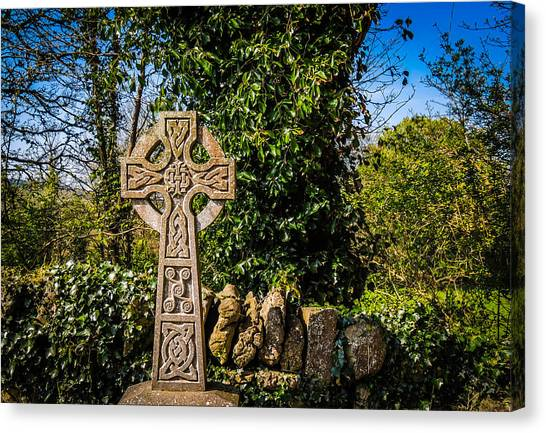 Celtic Knots Decorate A Celtic Cross Canvas Print
