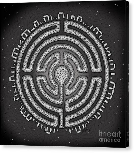 Canvas Print featuring the mixed media Celtic Labyrinth Mandala by Kristen Fox