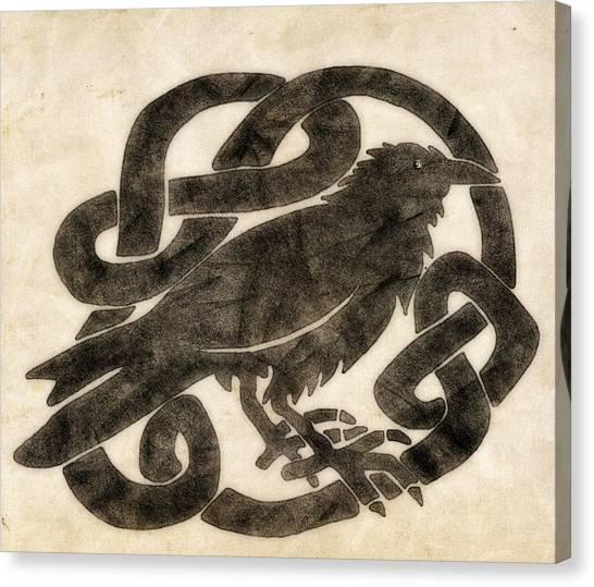 Raven Canvas Print - Celtic Raven Knot by Little Bunny Sunshine