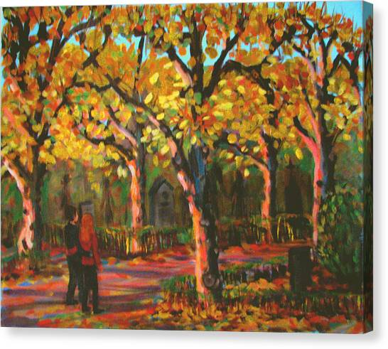 Cemetary In Autumn Canvas Print by Art Nomad Sandra  Hansen