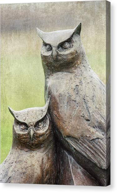 Cemetery Canvas Print - Cemetery Art Two Owls In The Rain by Carol Leigh