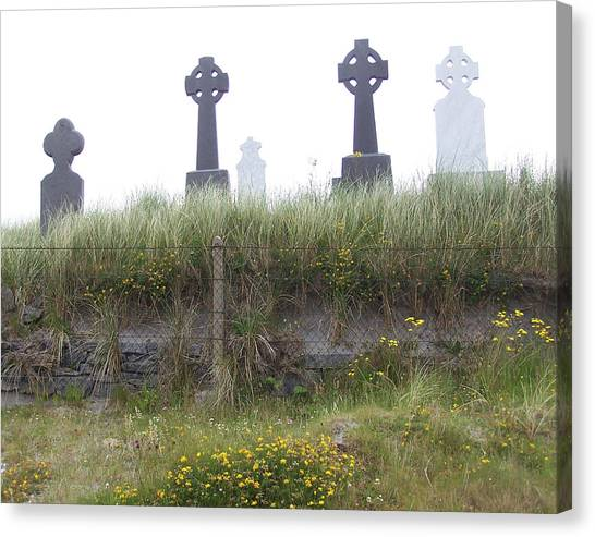 Cemetery On Inisheer Aran Islands Ireland Canvas Print by Linda Hardin