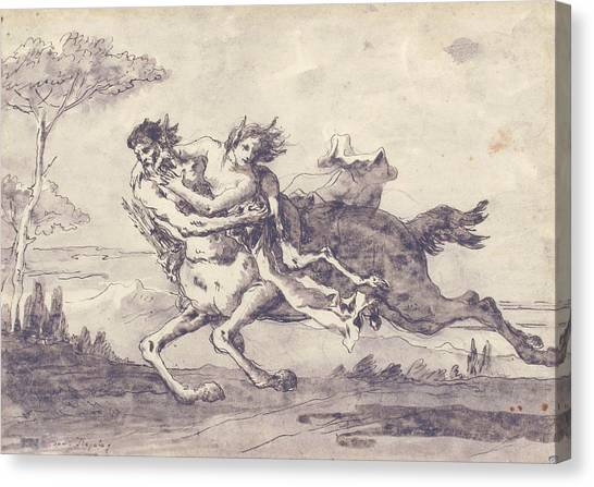 Centaurs Canvas Print - Centaur Abducting A Satyress by Giovanni Domenico Tiepolo