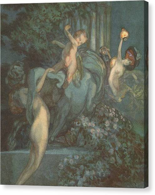 Centaurs Canvas Print - Centaur Nymphs And Cupid by Franz von Bayros