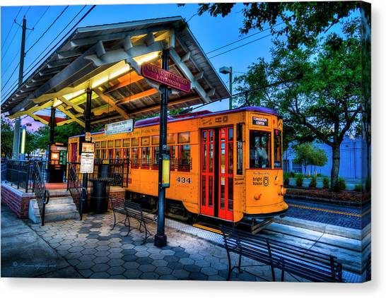 Trolley Canvas Print - Centennial Park Satation by Marvin Spates