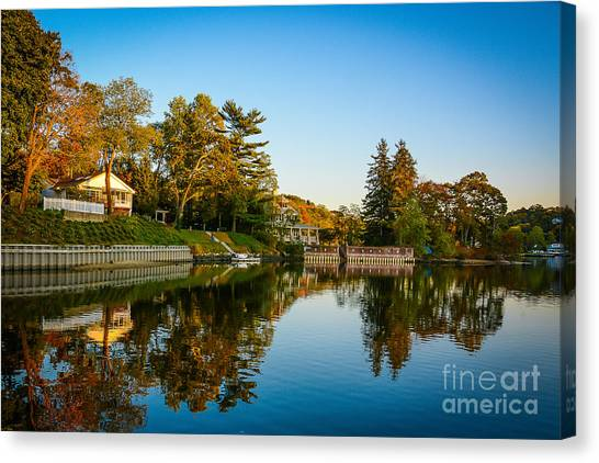 Centerport Harbor Autumn Colors Canvas Print