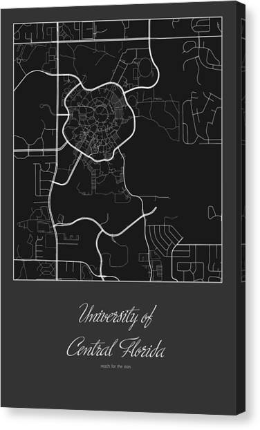 University Of Central Florida Ucf Canvas Print - Central Florida Street Map - University Of Central Florida Orlan by Jurq Studio