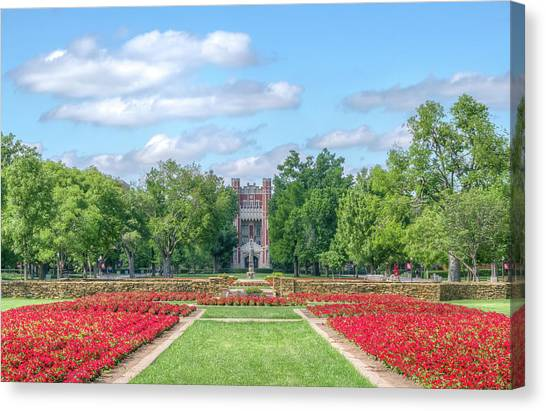 Oklahoma University Canvas Print - Central Grounds And Gardens At University Of Oklahoma by Ken Wolter