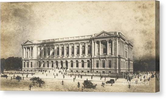 Neoclassical Art Canvas Print - Central Library Of The Free Library Of Philadelphia by Jules Guerin