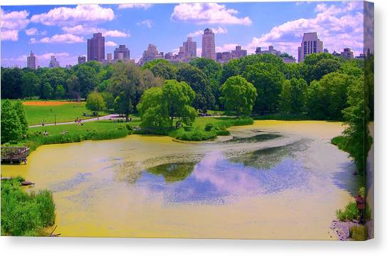 Central Park And Lake, Manhattan Ny Canvas Print