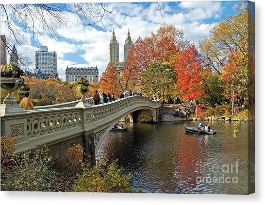 Central Park Canvas Print - Central Park Autumn Cityscape by Allan Einhorn