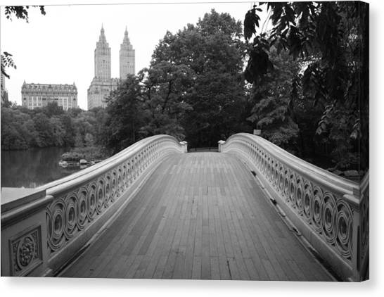 Central Park Bow Bridge With The San Remo Canvas Print