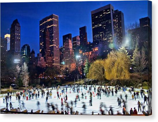 Central Park Canvas Print - Central Park Skaters by June Marie Sobrito