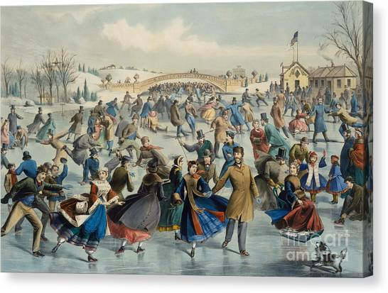 Currier And Ives Canvas Print - Central Park, Winter The Skating Pond, 1862 by Currier and Ives