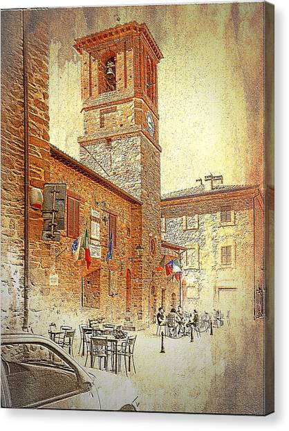 Central Square And Comune Building With Bell Tower Paciano Canvas Print