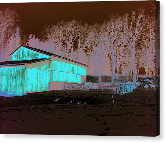 Century Farm Shed In Snow Watercolor Canvas Print by Laurie With
