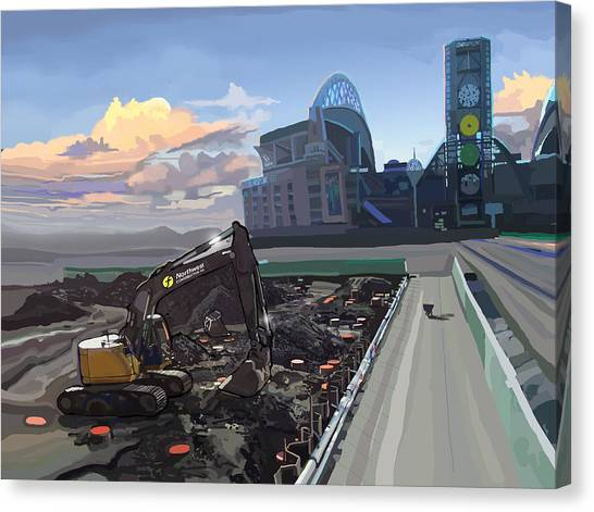 Bulldozers Canvas Print - Century Link by Brad Burns