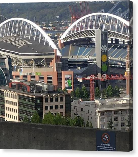 Football Players Canvas Print - Century Link Stadium by Christian Richards