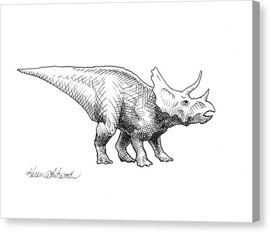 Triceratops Canvas Print - Cera The Triceratops - Dinosaur Ink Drawing by Karen Whitworth