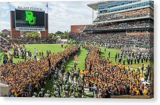 Baylor University Canvas Print - Ceremonial Running Of The Baylor Line by Stephen Stookey