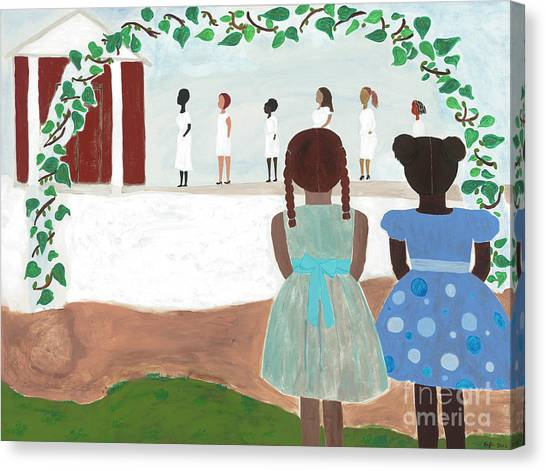 Temple Canvas Print - Ceremony In Sisterhood by Kafia Haile