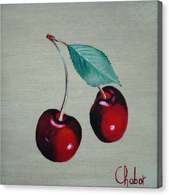 Cerises Canvas Print by Veronique Chabot