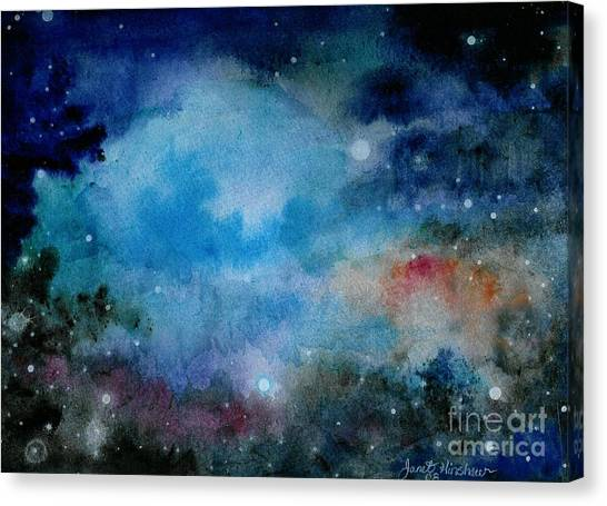 Cerulean Space Clouds Canvas Print by Janet Hinshaw