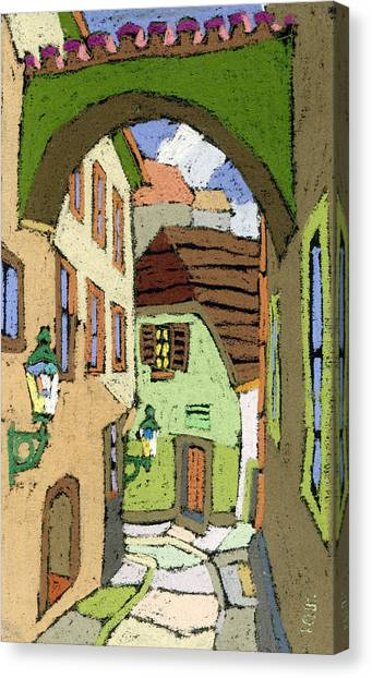 Pastel Canvas Print - Cesky Krumlov Masna Street by Yuriy Shevchuk