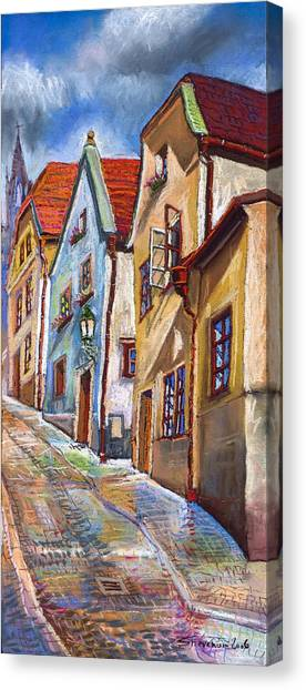 Pastel Canvas Print - Cesky Krumlov Old Street 2 by Yuriy Shevchuk
