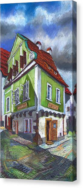 Pastel Canvas Print - Cesky Krumlov Old Street 3 by Yuriy Shevchuk