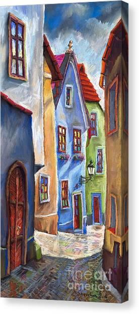 Pastel Canvas Print - Cesky Krumlov Old Street by Yuriy Shevchuk