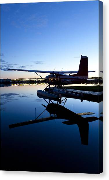 Cessnas Canvas Print - Cessna 180 And Its Reflection by Tim Grams