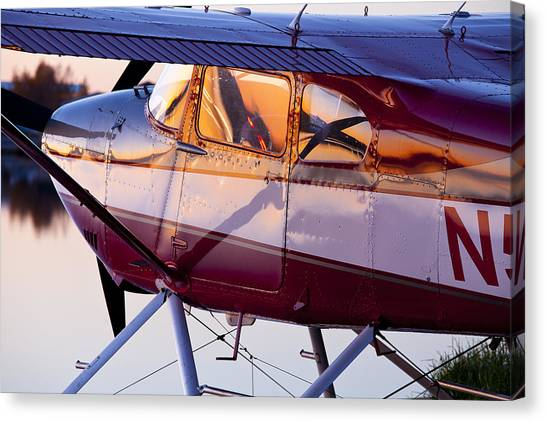 Cessnas Canvas Print - Cessna 180 At Sunset by Tim Grams