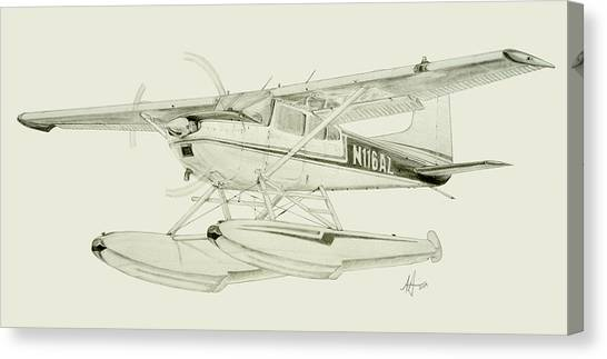 Cessnas Canvas Print - Cessna 180h On Floats by Nicholas Linehan