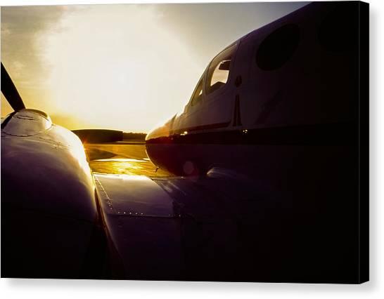Cessna 421c Golden Eagle IIi Silhouette Canvas Print