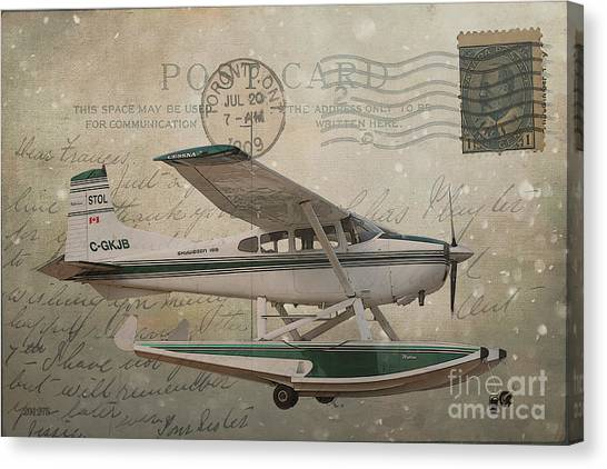 Cessna Skywagon 185 On Vintage Postcard Canvas Print