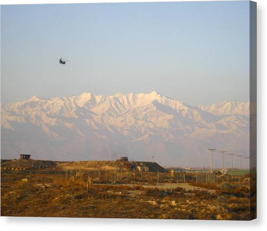 Hindu Kush Canvas Print - Ch-47 Chinook Over Bagram Airfield Afghanistan by David M Porter