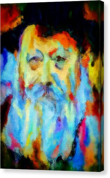 Chabad Lubavitch Rebbe Colorful Bright Acrylic Painting Menachem Schneerson Rabbi Crown Heights Rainbow Canvas Print by MendyZ