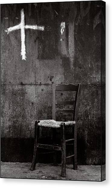 Chair And Cross Chania Crete Canvas Print by Werner Hammerstingl