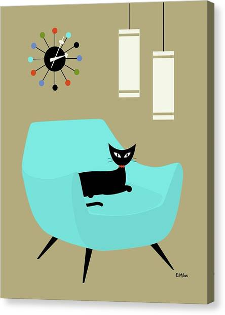 Chair With Ball Clock Canvas Print