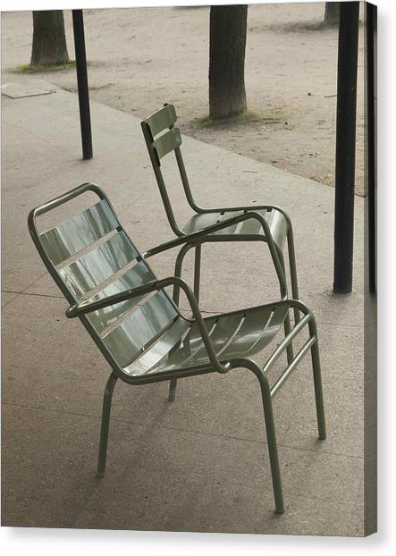 Chairs At Jardin Du Luxembourg Canvas Print by Paolo Pizzimenti