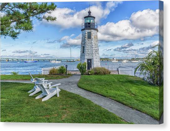 Chairs At Newport Harbor Lighthouse Canvas Print