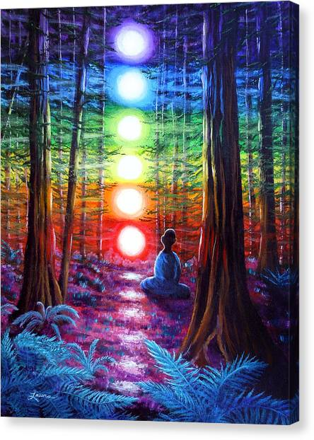 Buddhist Canvas Print - Chakra Meditation In The Redwoods by Laura Iverson