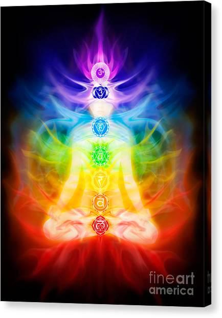 Luminous Body Canvas Print - Chakras And Energy Flow On Human Body by Oleksiy Maksymenko