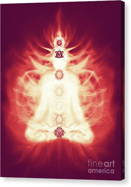 Luminous Body Canvas Print - Chakras Symbols And Energy Flow On Human Body by Oleksiy Maksymenko