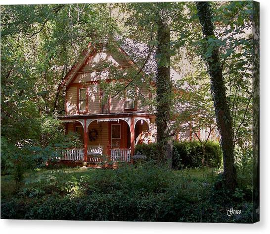 Chalet In The Trees Canvas Print